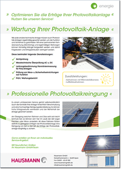 PDF - Photovoltaik-Wartung-Infoblatt der Firma Hausmann GmbH in Apen